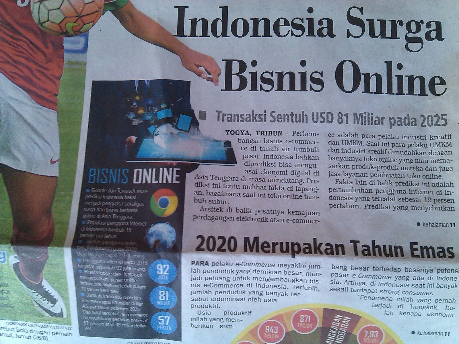 Indonesia Merupakan Surga Bisnis Online di Asia Tenggara