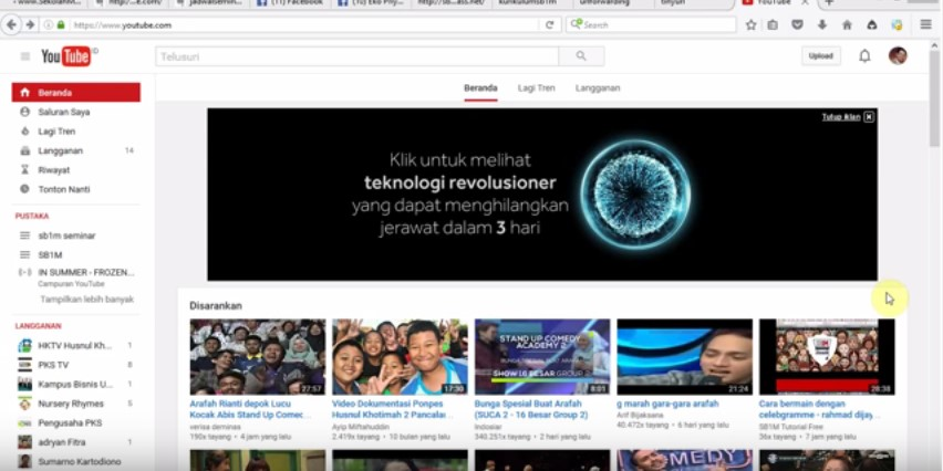 Cara menambah Channel di youtube