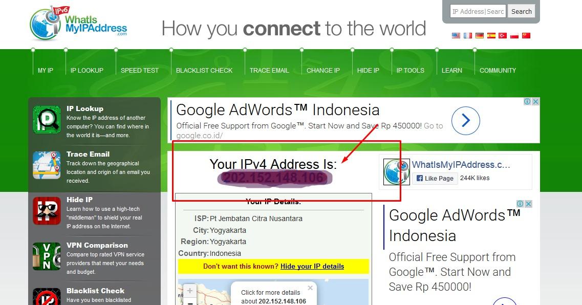 cara mengetahui IP Address kita