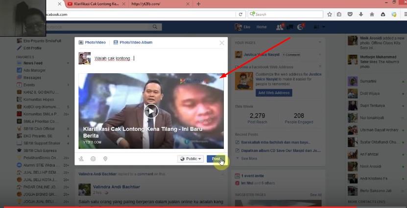cara posting youtube ke facebook gambarnya besar